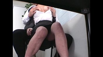 Gorgeous brunette girl during humiliating nude job interview