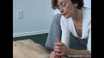 Granny shows off her saggy boobs and sucks the life and cum out of young man's Dick. Oral creampie