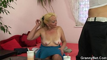 Horny Grandma Hires a Male Stripper To Come Fuck Her Hairy Pussy
