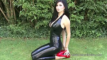 Sexy Russian Cosplay Girl in Black Latex Catsuit